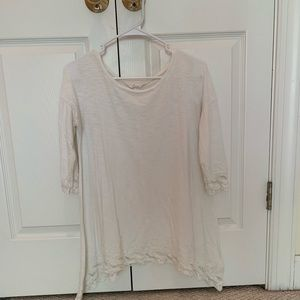 3/4 Sleeved White Top with Lace Details